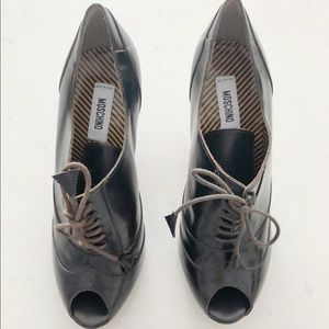 Moschino oxford peep toe shoes 7/7.5